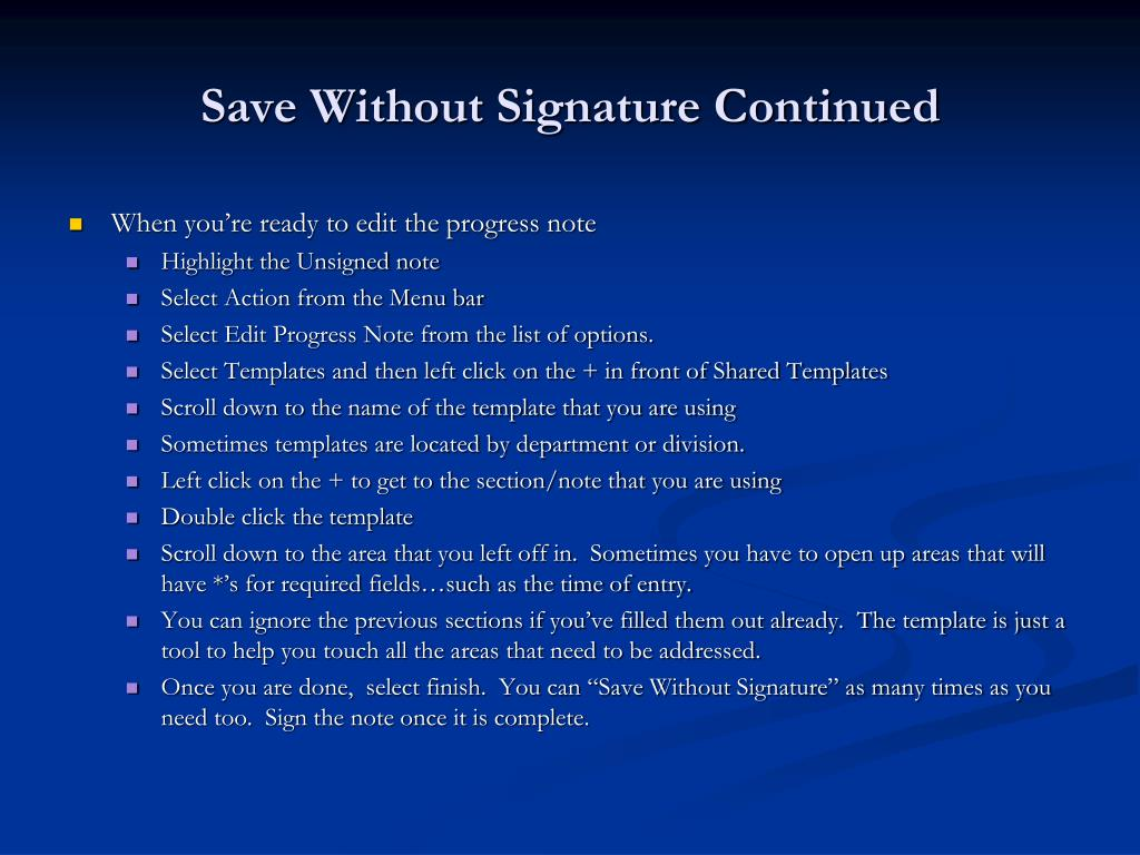 Save Without Signature Continued