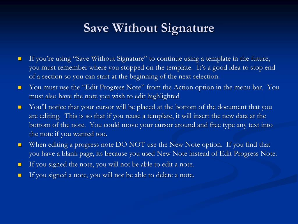 Save Without Signature