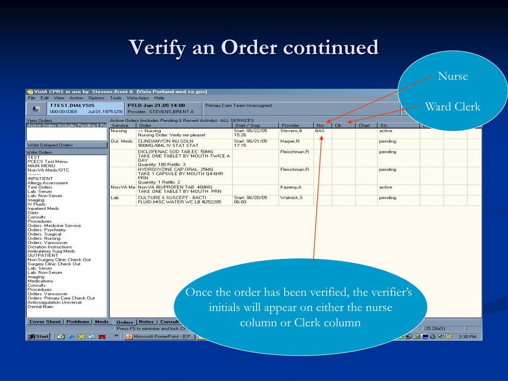 Verify an Order continued