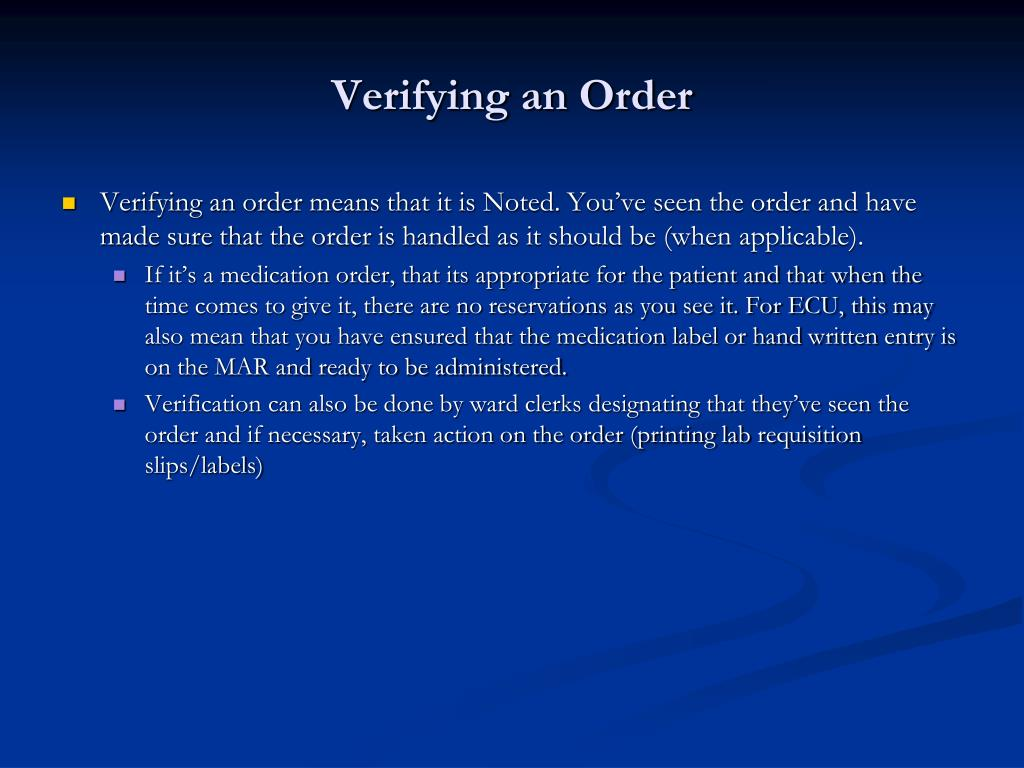 Verifying an Order