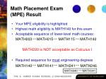 math placement exam mpe result30