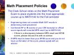 math placement policies