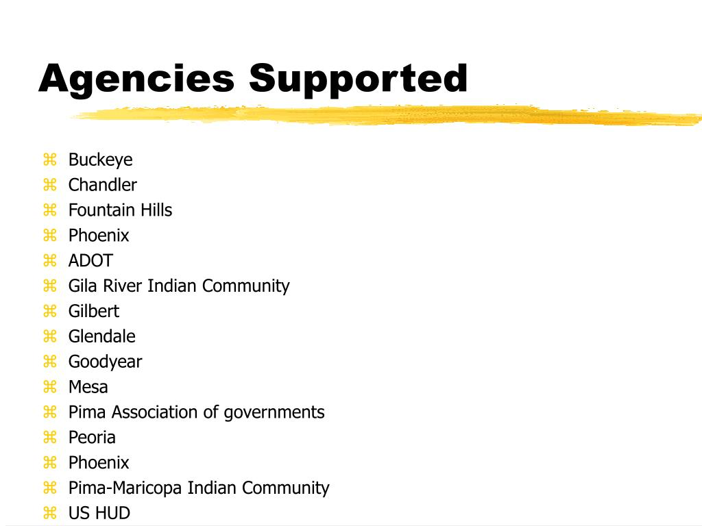 Agencies Supported