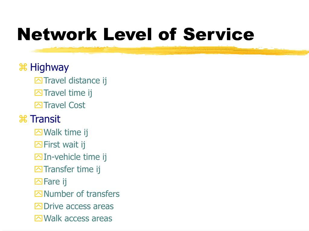 Network Level of Service