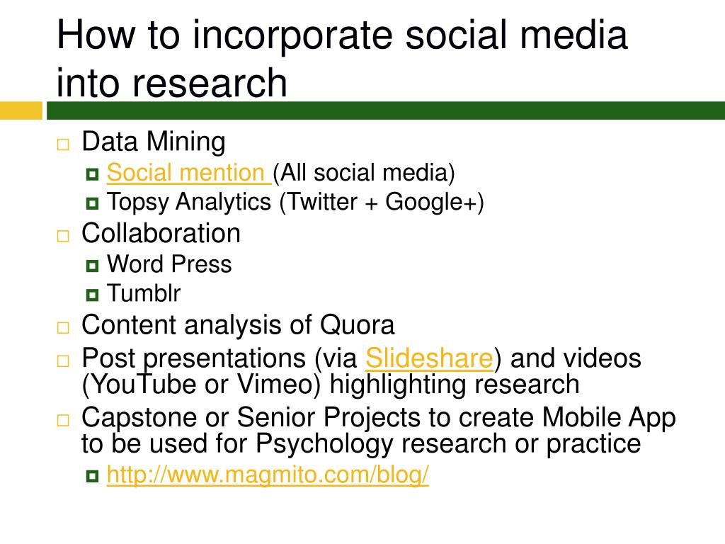 How to incorporate social media into research