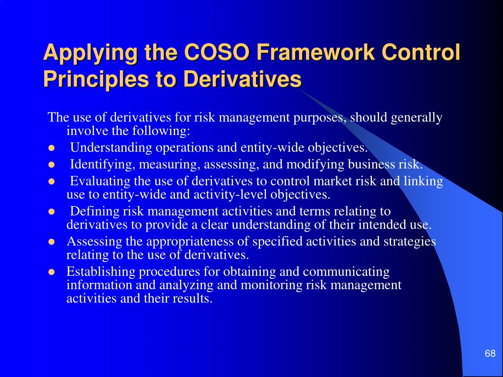 Applying the COSO Framework Control Principles to Derivatives
