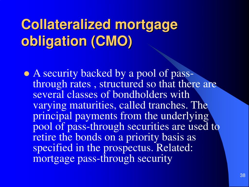 Collateralized mortgage obligation (CMO)