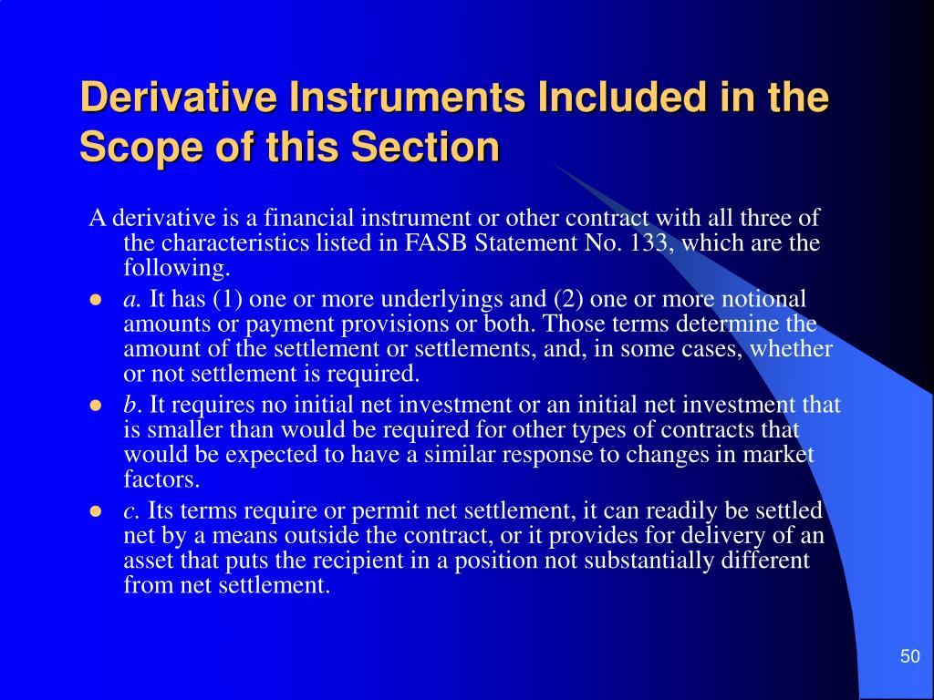 Derivative Instruments Included in the