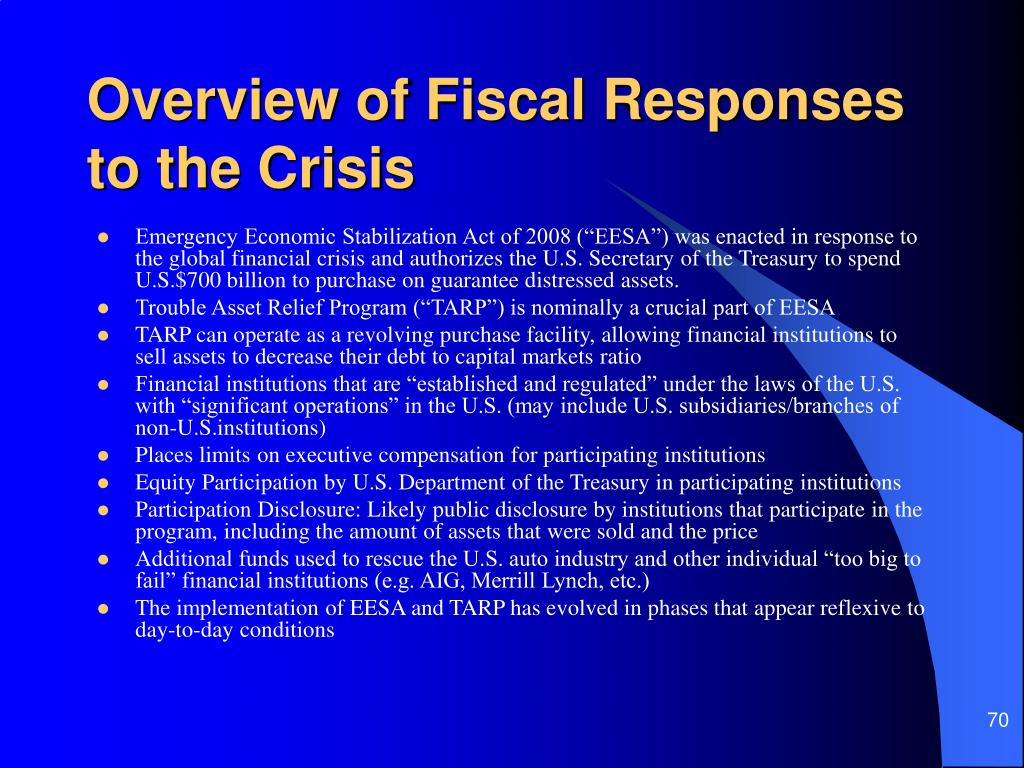 Overview of Fiscal Responses to the Crisis