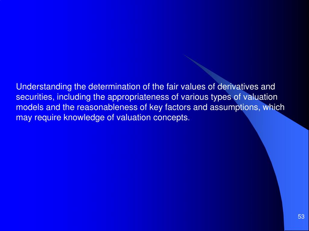 Understanding the determination of the fair values of derivatives and