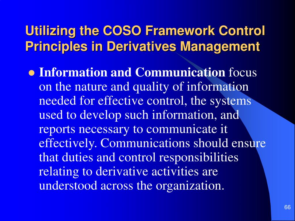 Utilizing the COSO Framework Control Principles in Derivatives Management