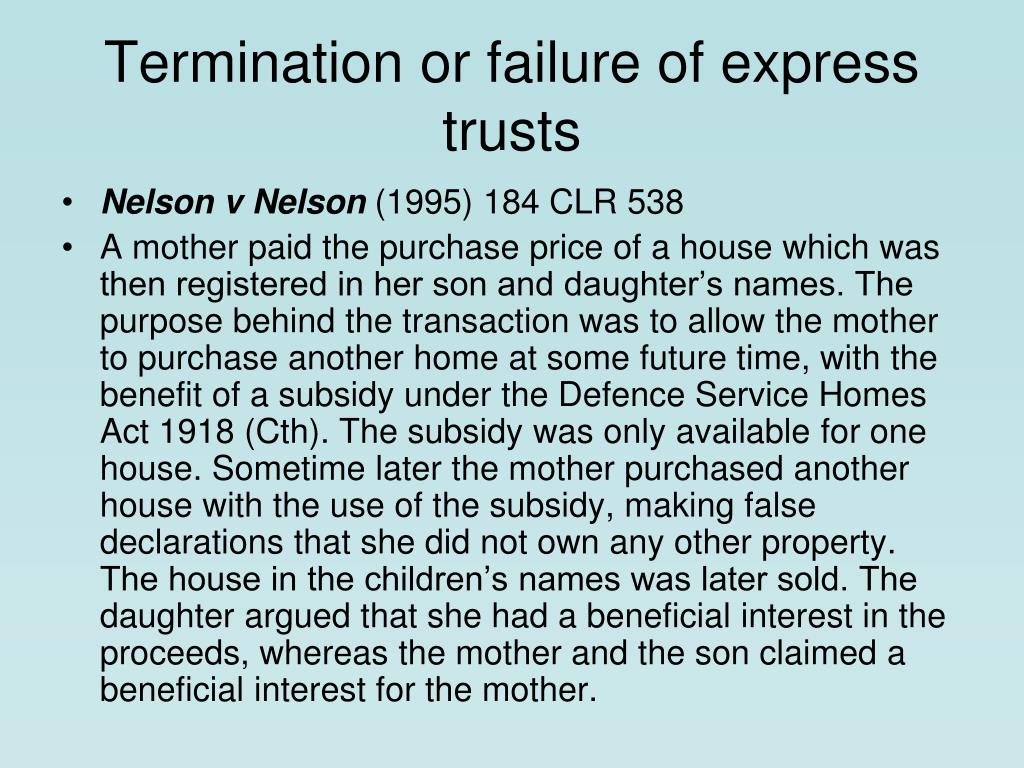 Termination or failure of express trusts