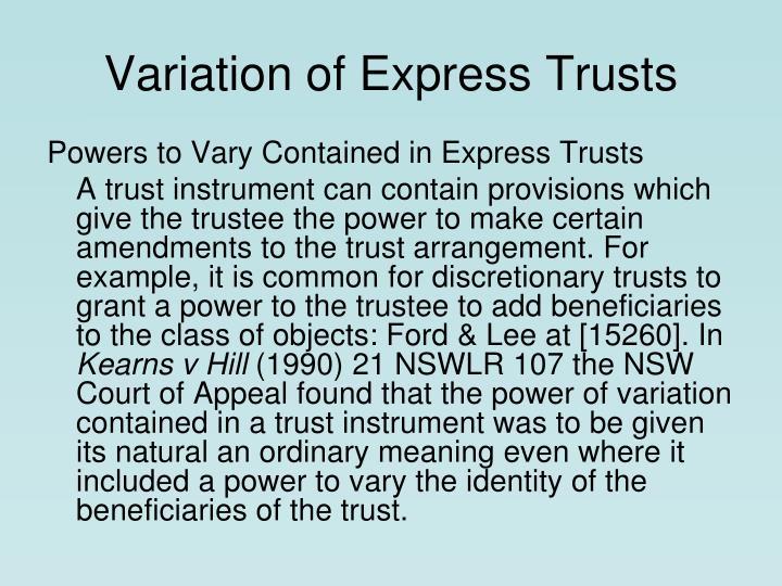 Variation of express trusts