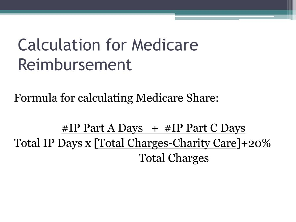 Calculation for Medicare Reimbursement