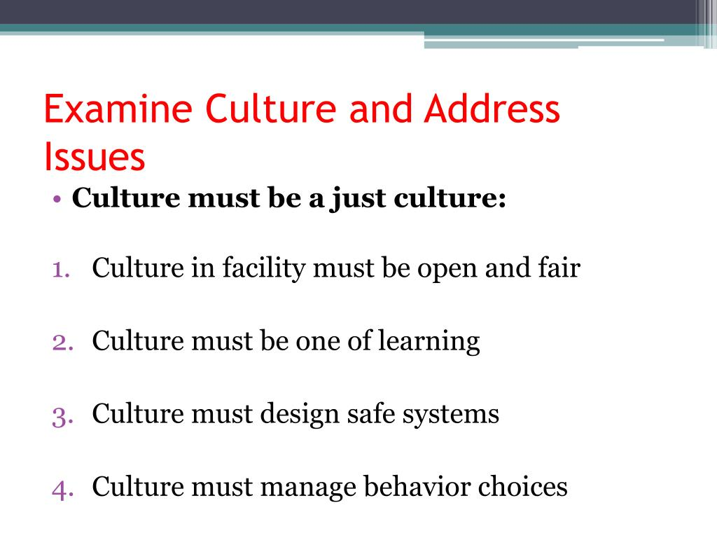 Examine Culture and Address Issues
