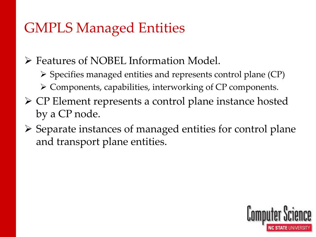 GMPLS Managed Entities