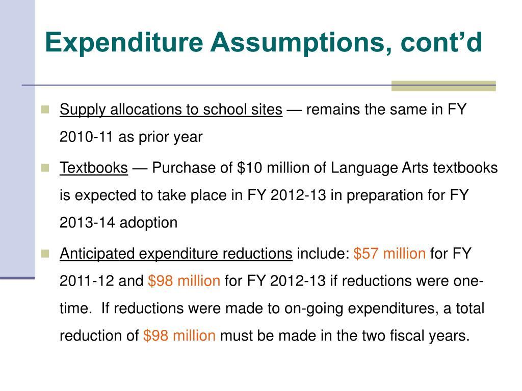 Expenditure Assumptions, cont'd
