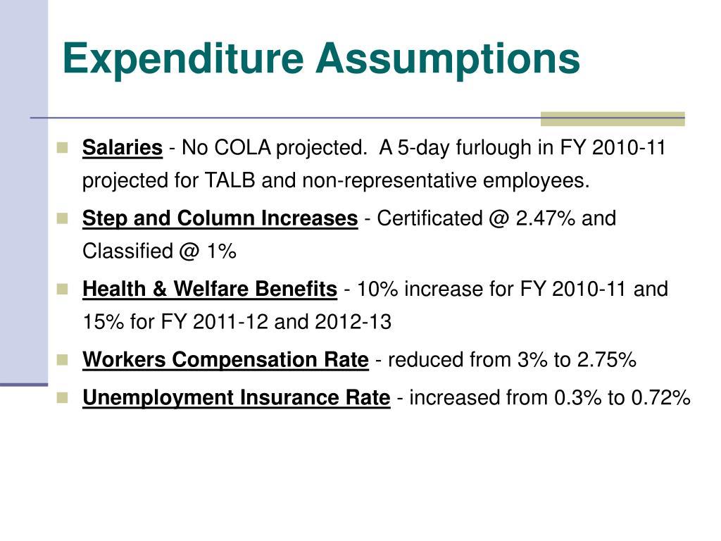 Expenditure Assumptions