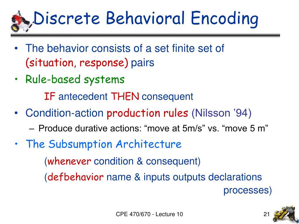 Discrete Behavioral Encoding