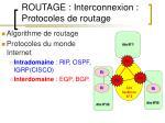 routage interconnexion protocoles de routage