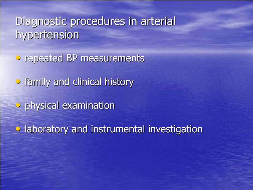 Diagnostic procedures in arterial hypertension