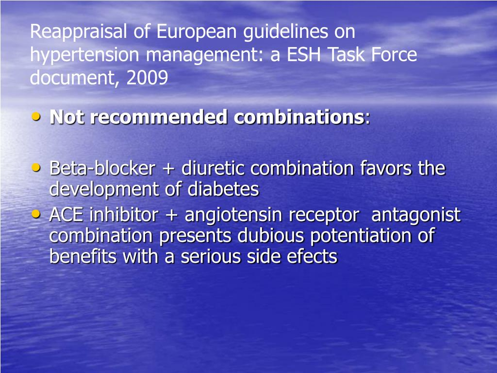 Reappraisal of European guidelines on hypertension management: a ESH Task Force document, 2009