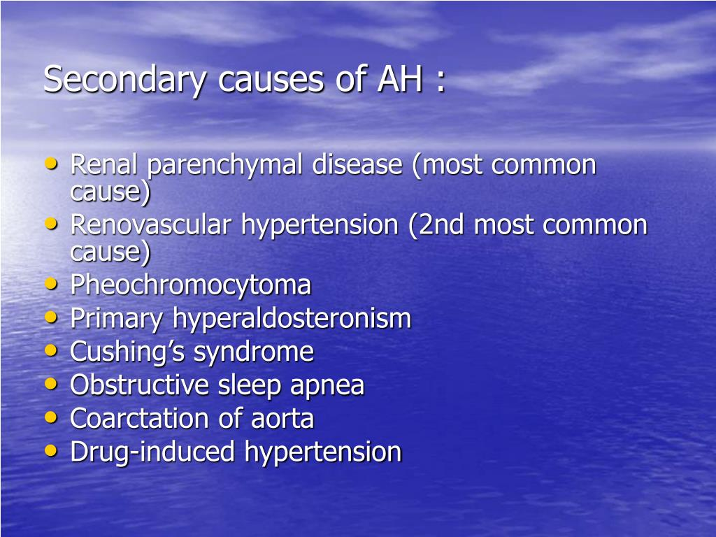 Secondary causes of AH :