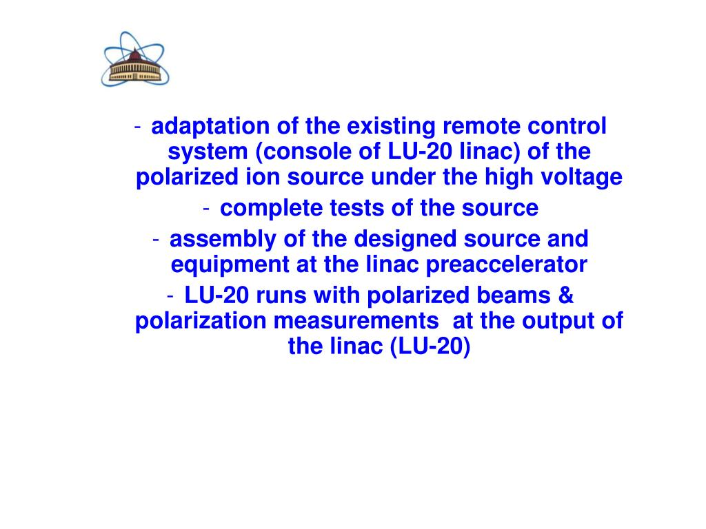 adaptation of the existing remote control system (console of LU-20 linac) of the polarized ion source under the high voltage