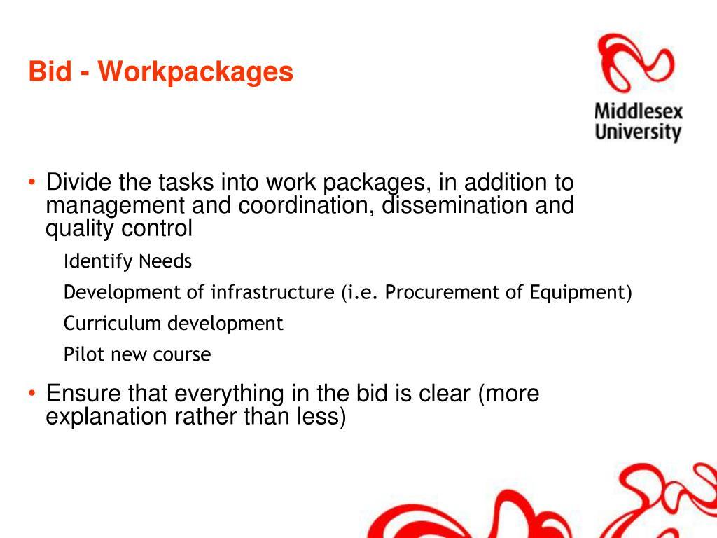 Bid - Workpackages