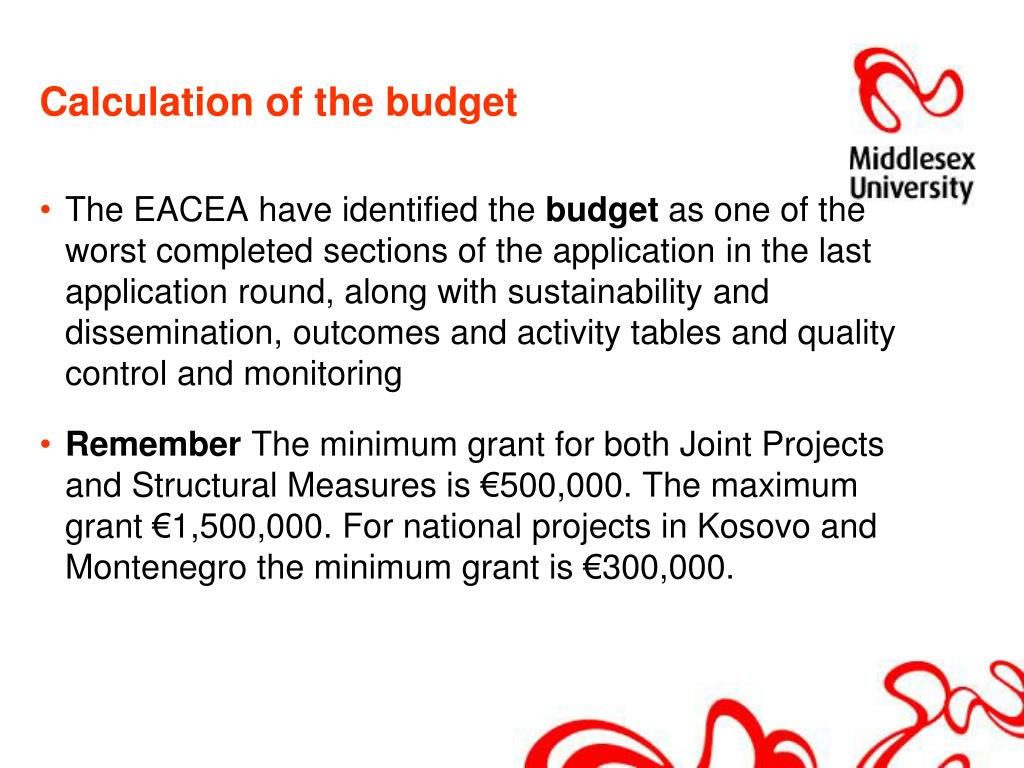 Calculation of the budget