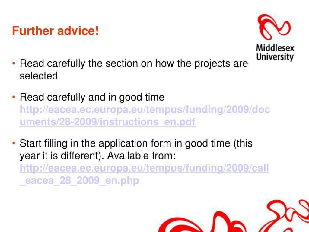 Further advice!