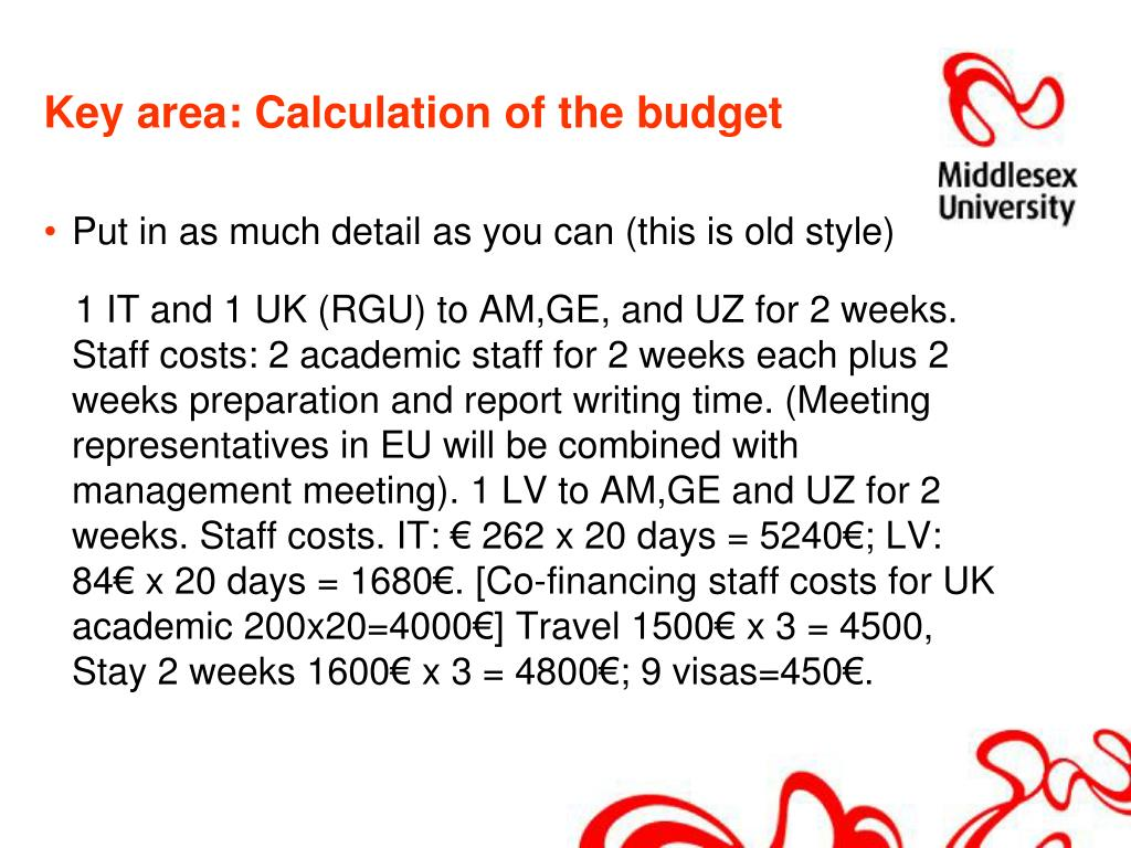 Key area: Calculation of the budget