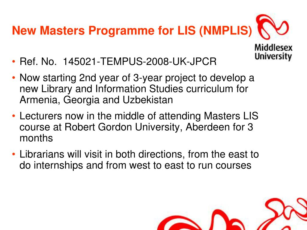 New Masters Programme for LIS (NMPLIS)
