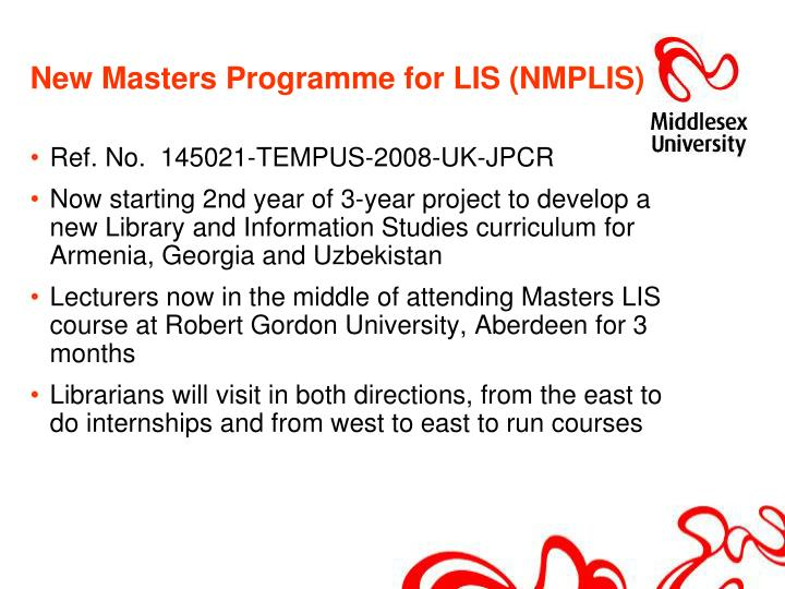 New masters programme for lis nmplis