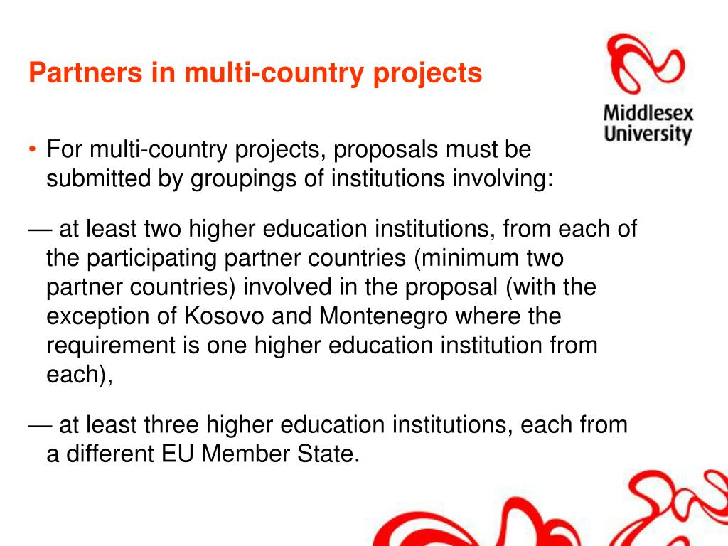 Partners in multi-country projects