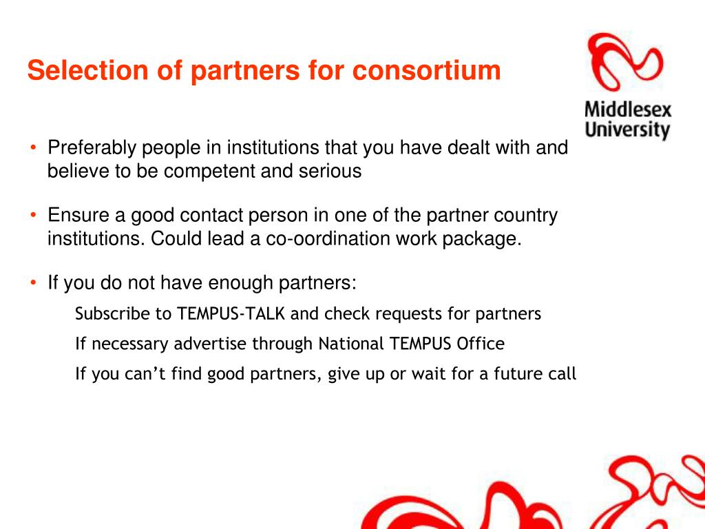Selection of partners for consortium