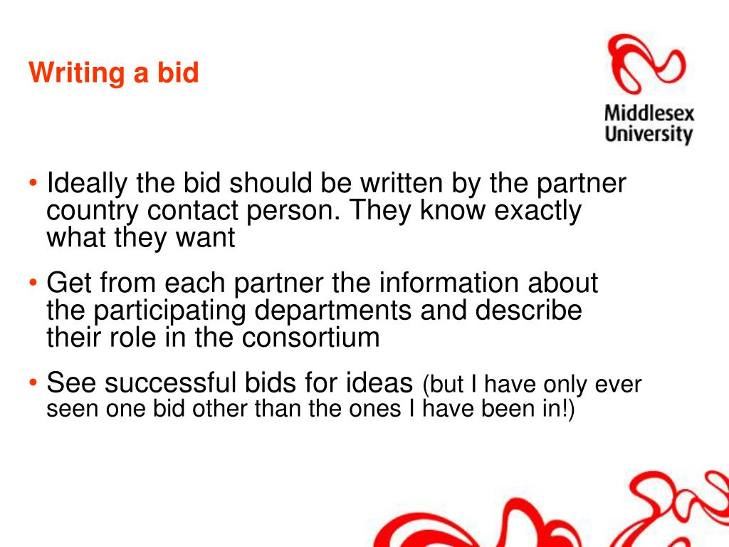 Writing a bid
