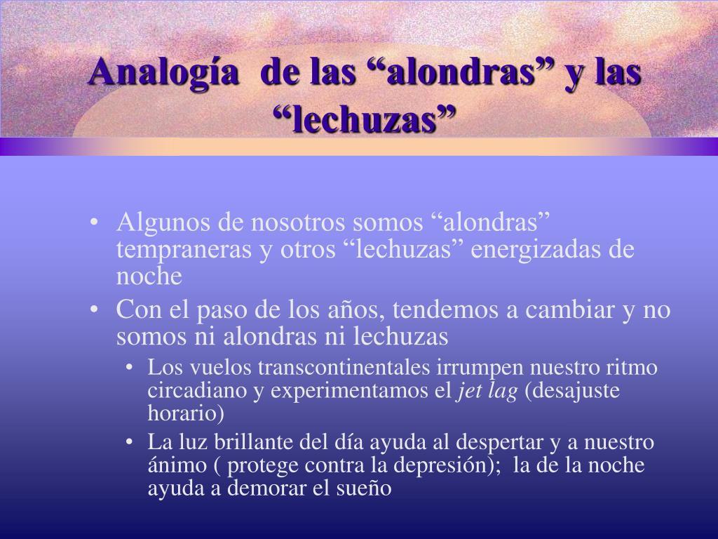 """Analogía  de las """"alondras"""" y las """"lechuzas"""""""