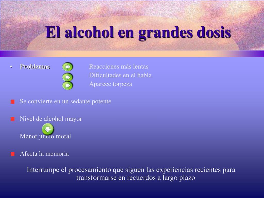 El alcohol en grandes dosis