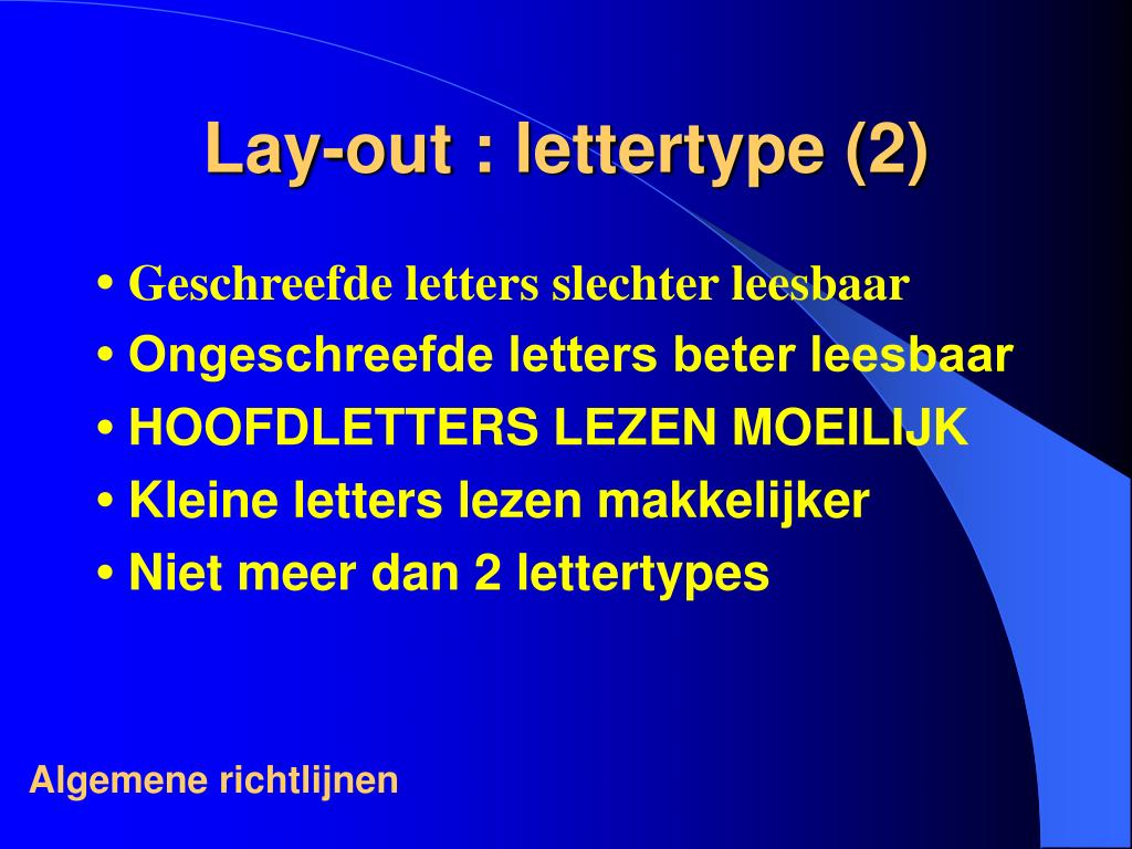 Lay-out : lettertype (2)