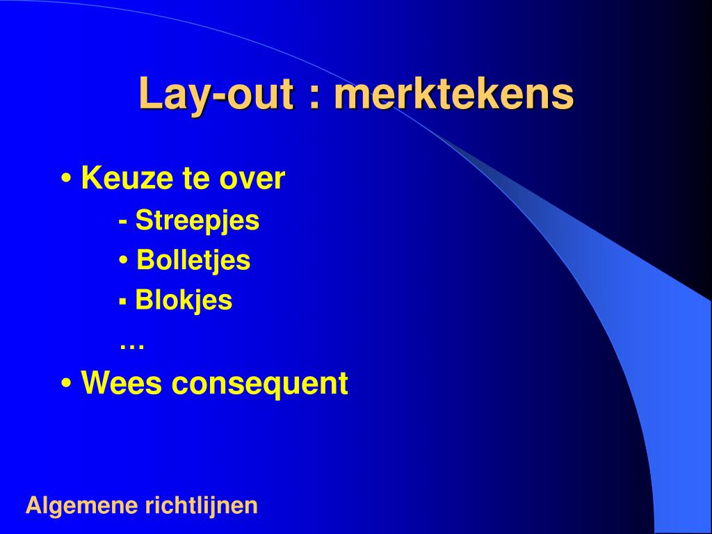 Lay-out : merktekens
