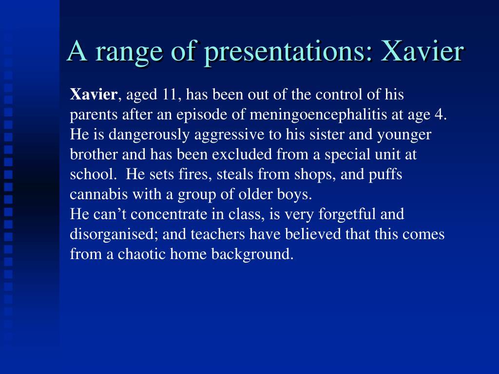 A range of presentations: Xavier