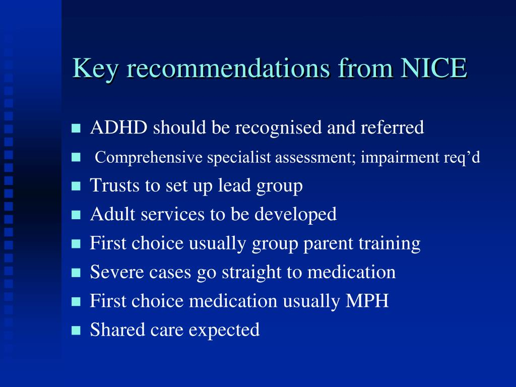 Key recommendations from NICE