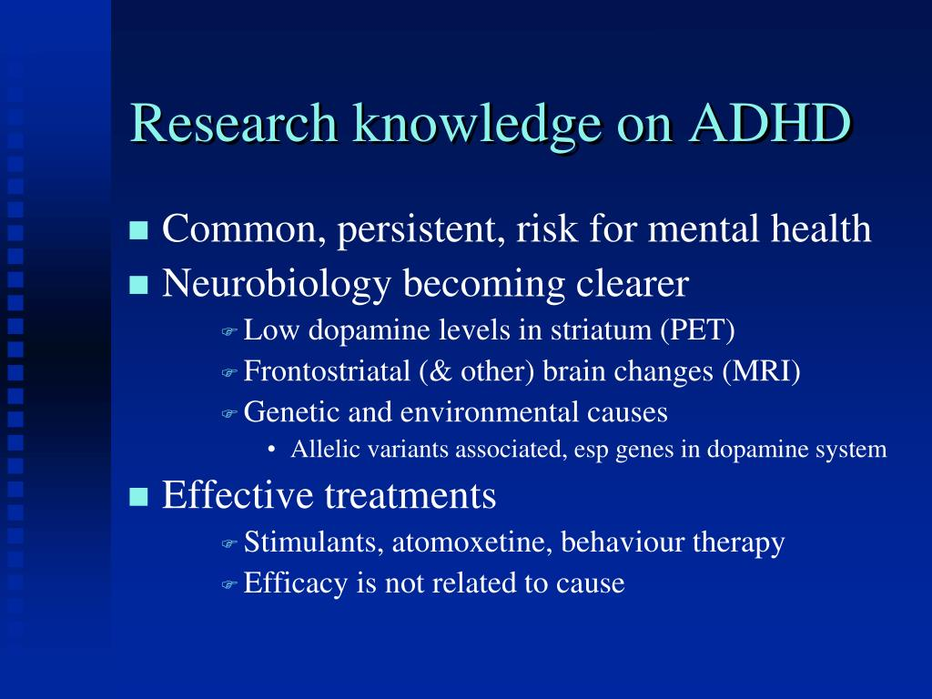 Research knowledge on ADHD