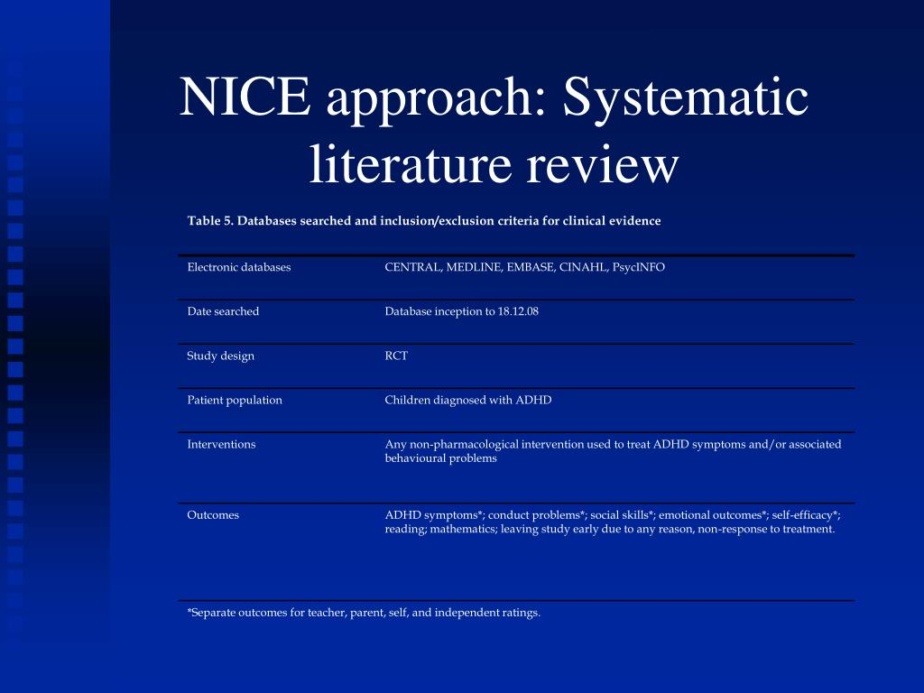 NICE approach: Systematic literature review