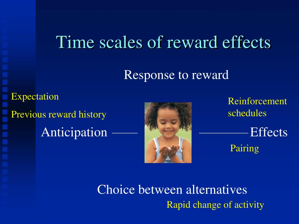Time scales of reward effects