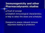immunogenicity and other pharmacodynamic studies