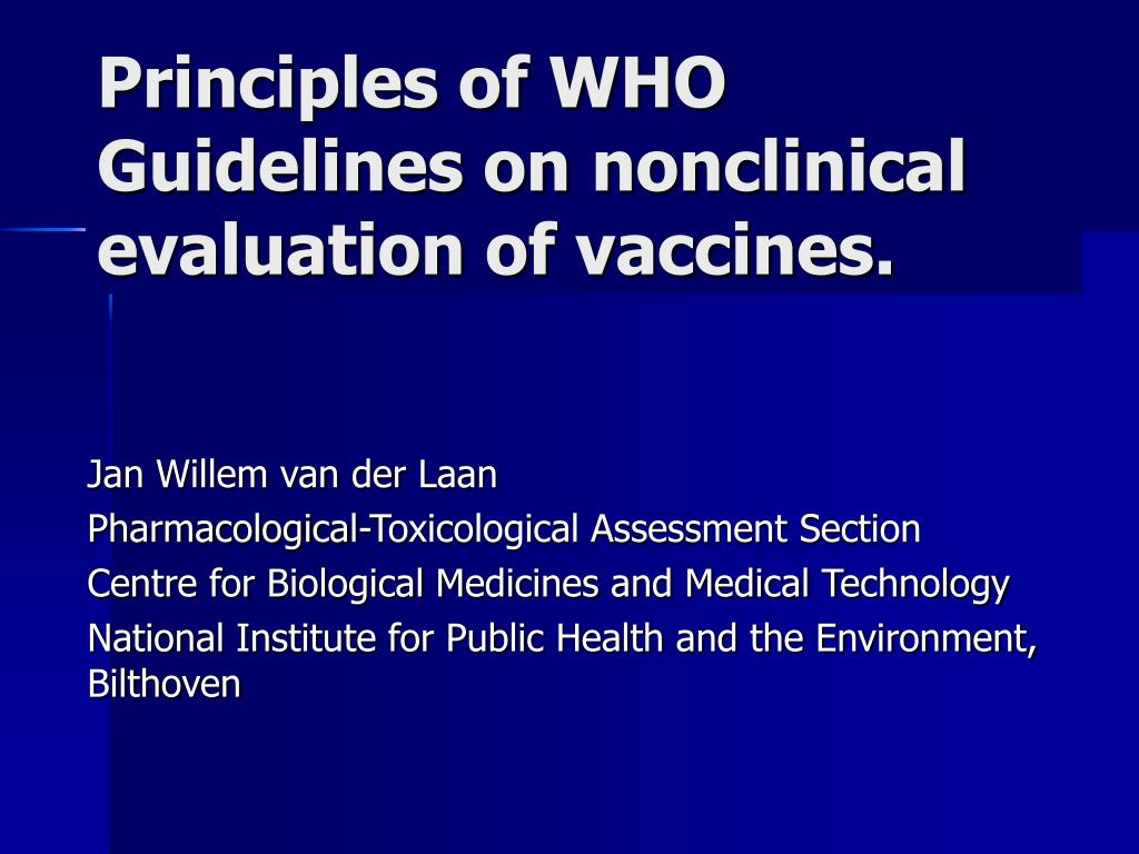 principles of who guidelines on nonclinical evaluation of vaccines
