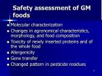 safety assessment of gm foods