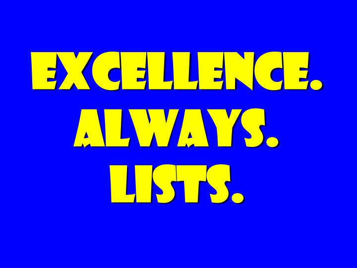 excellence always lists n.